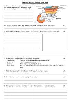 Edexcel GCSE Geography B - Restless Earth - End of Unit Test and Review Sheet