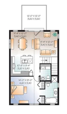 Studio Apartment Garage garage apartment plan 64817 | total living area: 1068 sq. ft., 2