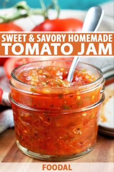 Keep the flavor of summer alive with homemade sweet and savory tomato jam On everything from grilled cheese to burgers BLTs to broiled fish and omelets to savory scones t. Savory Scones, Jam And Jelly, Wine Jelly, Vegetable Drinks, Veggie Food, Homemade Jam Recipes, Tomato Canning Recipes, Canning Tips, Homemade Sweets