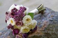 would add lily of the valley Purple Spring Flowers, Spring Flower Bouquet, Spring Wedding Bouquets, Purple Wedding, Floral Wedding, Wedding Colors, Wedding Flowers, Our Wedding Day, Wedding Events