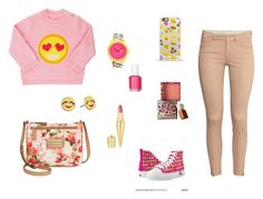 """""""Emoji Look"""" by hifza050703 ❤ liked on Polyvore featuring Harajuku Lovers, Kate Spade, Casetify, Barneys New York, H&M, Benefit, Christian Louboutin, Essie and Calvin Klein"""