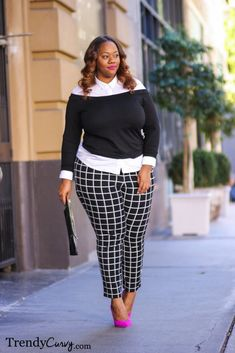 Stylish curvy outfit idea in black and white, perfect for fall and spring!