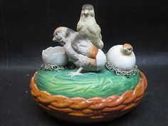 Antique Victorian Staffordshire Baby Chicks On A Covered Basket Figurine