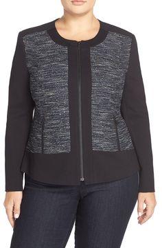 Classiques Entier® 'Ocean Tweed' Mixed Media Jacket (Plus Size)