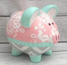 Flower full piggy bank painted for amelias 1st birthday all personalized piggy bank coral aqua turquoise and grey damask and chevron artisan hand painted ceramic piggy bank 9 negle Images