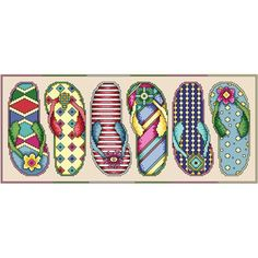 """Flip Flop Fun Counted Cross Stitch Kit-15.5""""X16.5"""" 14 Count"""