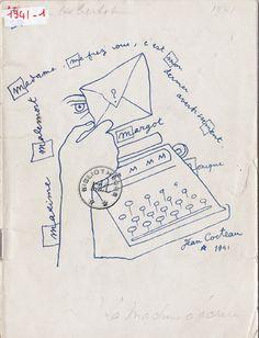 """Programme original par Jean Cocteau de """"La machine à écrire"""" Pièce de Jean Cocteau, qui sera jouée en 1941."""
