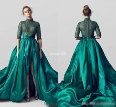 Emerald Green dubai arabic Evening Dresses with Half Long Sleeves 2017 High  Neck Split Lace Applique Green Formal Prom Gowns a9c3eeabc3c6