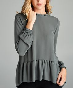 Love this Spicy Mix Charcoal Frill Collar Peplum Top by Spicy Mix on #zulily! #zulilyfinds