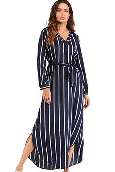 d510750bbaa7 Milumia Women's Belted Self Tie Long Sleeve V Neck Waist Maxi Dress  Burgundy Small at Amazon