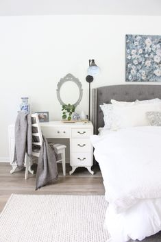 Using a Desk as a Nightstand | White Cottage Home & Living