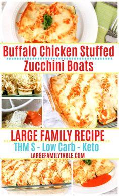 Large Family Buffalo Chicken Stuffed Zucchini Boats Chicken Zucchini Boats, Zucchini Boat Recipes, Stuffed Zucchini, Low Carb Recipes, Healthy Recipes, Free Recipes, Buffalo Chicken, Freezer Meals, Yummy Food