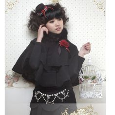 Black Gothic Lolita Princess Fashion Wedding Clothing Capes Cloaks SKU-11203086