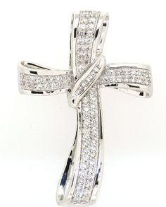 Women's 1 Cttw. Rhodium Over Brass Diamond Cross Necklace