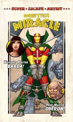 Mister Miracle, Big Barda & Oberon by Joel Gomez Dc Heroes, Comic Book Heroes, Comic Books Art, Big Barda, Jack Kirby Art, Dc Comics Characters, Book Characters, Drawn Art, Arte Dc Comics