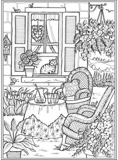 Creative Haven Home Sweet Home Coloring Book – Books Coloring Pages Dover Coloring Pages, Detailed Coloring Pages, Cat Coloring Page, Printable Adult Coloring Pages, Coloring Sheets, House Colouring Pages, Summer Coloring Pages, Kids Coloring, Christmas Coloring Pages