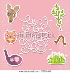 Kangaroo owl elephant labyrinth game for Preschool Children. Vector - stock vector