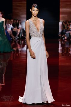 elie saab fall 2013 2014 couture sleeveless embellished v neck bodice gown