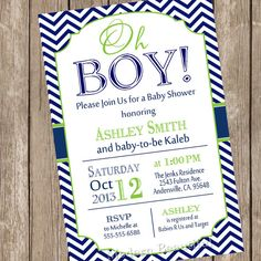 Oh Boy Baby Shower Invitation Navy and Lime Green Chevron Printable Personalized on Etsy, $13.00