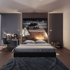 Beautiful Bedrooms Perfect for Lounging All Day A man – no matter what his age – needs a space to call his own. This masculine bedroom in dark grays and silvery accessories belie a love of cars, machines, and all things manly. Mens Room Decor, Cool Room Decor, Boys Bedroom Decor, Small Room Bedroom, Room Ideas Bedroom, Gray Bedroom, Modern Bedroom, Dorm Room, Male Bedroom