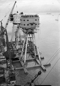 The construction of the Maunsell gun towers- also known as Red Sands- in 1943. They were built to defend the UK from the German Navy and Luftwaffe, and were placed seven miles off the coast of Whitstable, Kent.