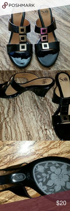 Womens dress shoes. Worn once. Black with gold accents Sofft Shoes Wedges