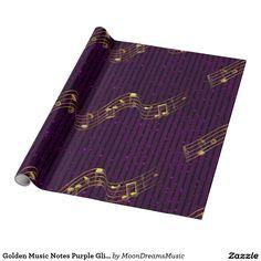 #GoldenMusicNotes #PurpleGlitterStripes #WrappingPaper by #MoonDreamsMusic #FauxGlitter #Pretty&Chic