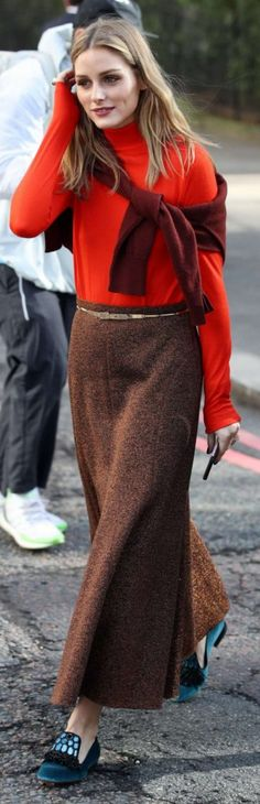 Olivia Palermo: Skirt and top – Pringle of Scotland  Shoes – Santoni