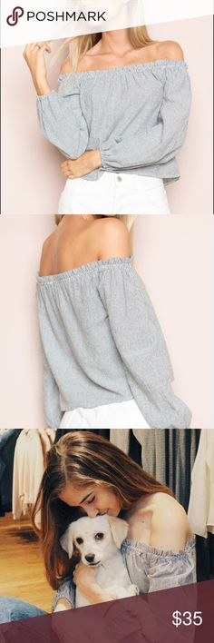 Brandy Melville Pinstriped Off the Shoulder Blouse BWNT Brandy Melville Tops Blouses