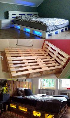 Bedroom set of 30 palettes - - Bed Frame Design, Bedroom Bed Design, Room Ideas Bedroom, Small Room Bedroom, Home Bedroom, Bedroom Decor, Wooden Pallet Beds, Pallet Bed Frames, Diy Pallet Bed