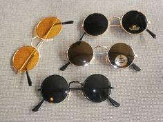 4er Set Sonnenbrillen im 70er Jahre Stil Hippie Goa Brillen 70s gelb rund Nerd