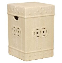 Square Asian Garden Stool End Table Antique White Champagne Glaze * ** AMAZON BEST BUY ** #AntiqueChinese