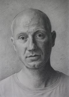 S 'Rob In The Vermeer Room.' by Alan Coulson. Graphite on paper 21 x 30cm.