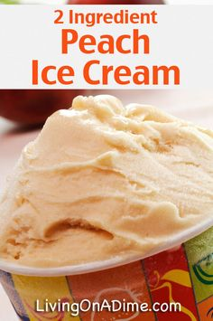 Peach Ice Cream Recipe - 12 Easy 2 Ingredient Homemade Ice Cream Recipes Try these easy 2 ingredient homemade ice cream recipes you can make at home without a machine! You're going to love how easy, creamy and delicious they are! Peach Ice Cream Recipe, Banana Ice Cream, Ice Cream Recipes, Vitamix Ice Cream, Blender Ice Cream, Ice Cream Treats, Ice Cream Desserts, Frozen Desserts, Frozen Treats