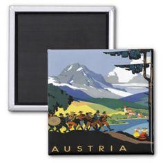 Austria ~ Vintage Austrian Alps Travel Poster Refrigerator Magnet