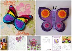 Molde de borboleta de feltro #feltro #artesanato #moldes #manualidades #fieltro #crafts #handmade #diy #eimeninas