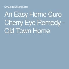 An Easy Home Cure Cherry Eye Remedy - Old Town Home