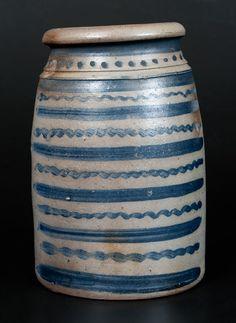 Exceptional Western PA Stoneware Wax Sealer -- Lot 274 -- July 2014 Stoneware Auction -- Crocker Farm, Inc. Antique Crocks, Old Crocks, Antique Stoneware, Stoneware Crocks, Primitive Antiques, Earthenware, Vintage Antiques, Glazes For Pottery, Ceramic Pottery