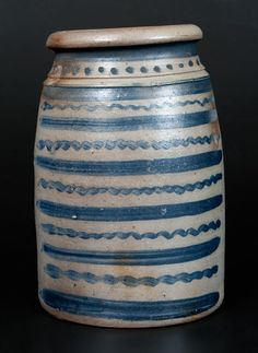 Exceptional 12-Stripe Western PA Stoneware Wax Sealer -- Lot 274 -- July 19, 2014 Stoneware Auction -- Crocker Farm, Inc.~♥~