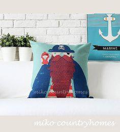 "$14 | Whimsical Sailor | Nautical Inspired Throw Pillow Cover | 45x45cm 18""x18"" #homedecor #nautical #pillowcover #whimsical"