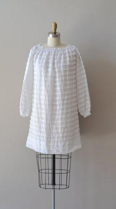 Downy Ruffle dress / mod 60s dress / white 1960s by DearGolden