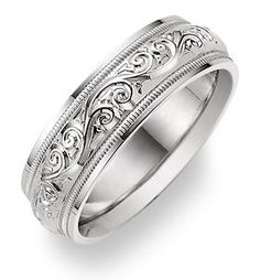Women S Paisley Design White Gold Wedding Band Ring 775 00 Via Etsy Rings