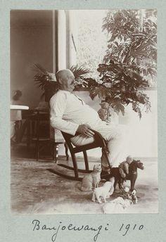 Man in zijn pyjama in de schommelstoel op de veranda omringd door speelgoeddieren., Frits Freerks Fontein Fz. (toegeschreven aan), ca. 1910