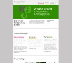 Website für Tiroler Kinder und Jugend GmbH mit den Einrichtungen Kinderschutz, turntable, SCHUSO Schulsozialarbeit