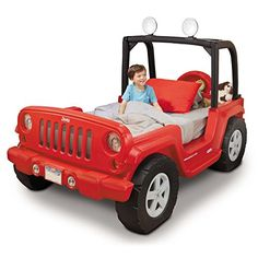 Kids will fall in love with this fun Jeep themed bed with working headlights! This real Jeep styled Little Tikes bed can grow with your toddler as they advance to a twin bed. Little Tikes, Toddler Twin Bed, Jeep Bed, Headboard With Shelves, Convertible Bed, Red Bedding, Luxury Bedding, Crib Mattress, Kids Furniture