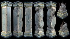 Damaged Marble Pillars -including resources(zBrushes+zTools+ingame models&textures) - Polycount Forum