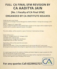 | Full #CAFINAL #SFM Revision Batch By #CA Aaditya Jain |   Organised by #CAInstituteKolkata  For More Details  Contact : 8229952727  http://www.gaapbright.com/