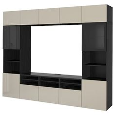 BESTÅ TV storage combination/glass doors, walnut effect light gray, Selsviken high gloss/white clear glass, 118 Get it here! Tv Storage Unit, Media Storage, Storage Spaces, Shelving Units, Tv Units, Ikea Tv, Tv Banco, Ikea Wall Units, Besta Tv Bank
