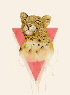 Animal Crew #art #illustration #painting #oil #leopard #beautiful #animal #wildcat #pink #triangle