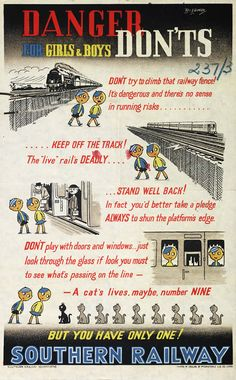 BRITISH WW II BRITISH TRAIN POSTERS -British Railways passenger safety poster, 1939-1945 JUL16